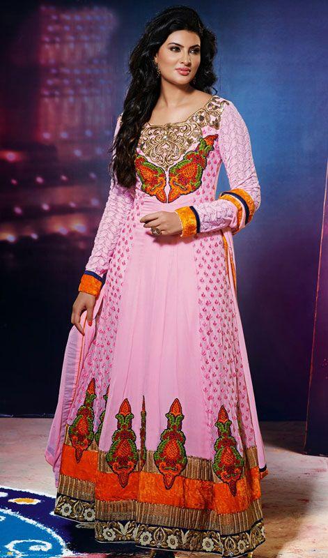 Geeta Basra Pink Shade Georgette Net Long Anarkali Suit Price: Usa $135, British UK Pound £79, Euro99, Canada CA$144 , Indian Rs7290.