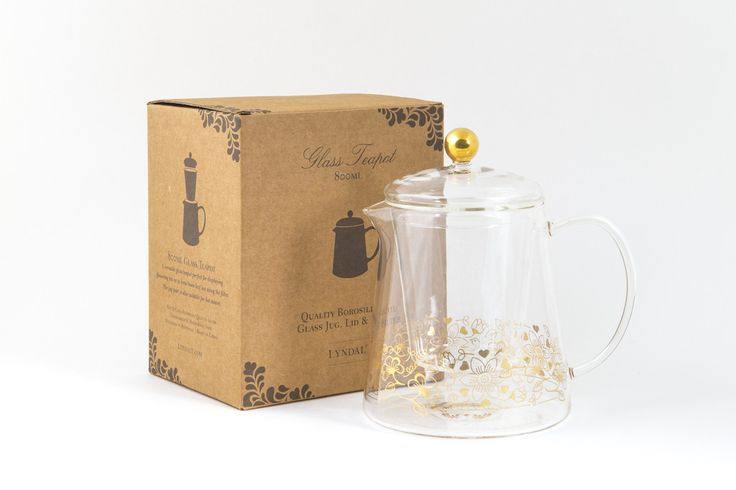 #Quality #Borosilicate #Glass #Teapot, #Jug, #Lid & #Filter. A #versatile #glass #teapot with a #gold #birdy #design, perfect for #displaying #flowering #tea. #Hot & #cold #resistant #quality glass. lyndalt.com