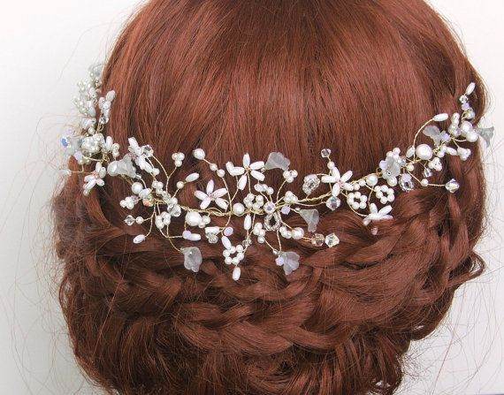 Isabelle Pearl Bridal Headdress Bohemian Halo by LittleWillowandCo, £63.40