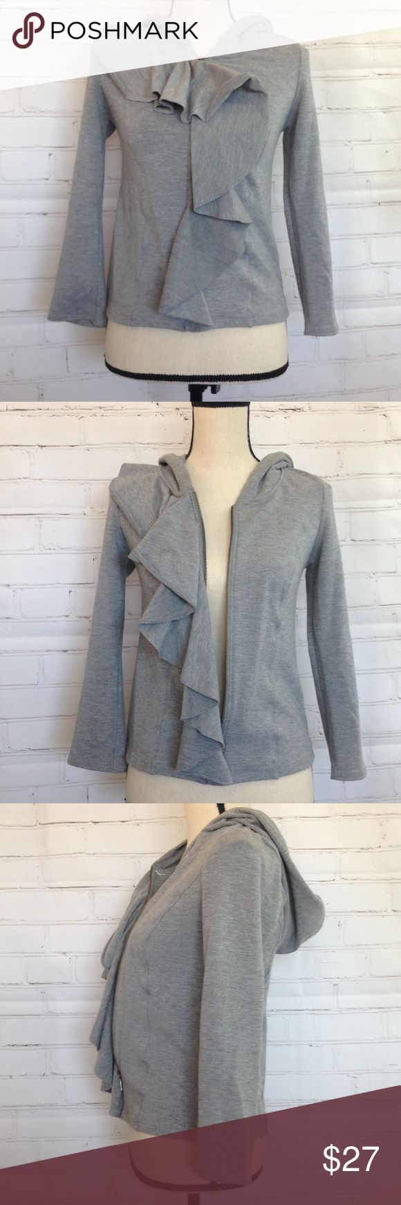 "Anthropologie Sunday Monday Tuesday Gray Jacket M Cute jacket so cute with the side ruffle Sweats Hoodie Top. Brand is Sunday Monday Tuesday Wednesday Thursday Friday Saturday. There is some pilling as jacket has been worn. Approximate measurements chest: 30.5"" length: 20.5 Anthropologie Tops Sweatshirts & Hoodies"