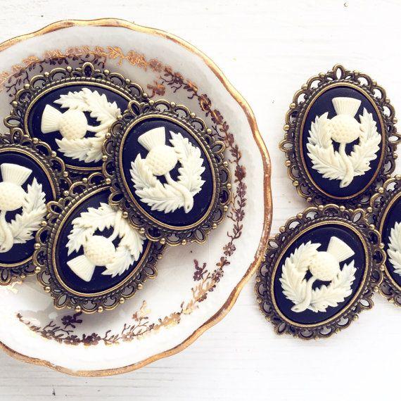 10 Schotse distel broches Cameo / Vintage Style door lydiasvintage