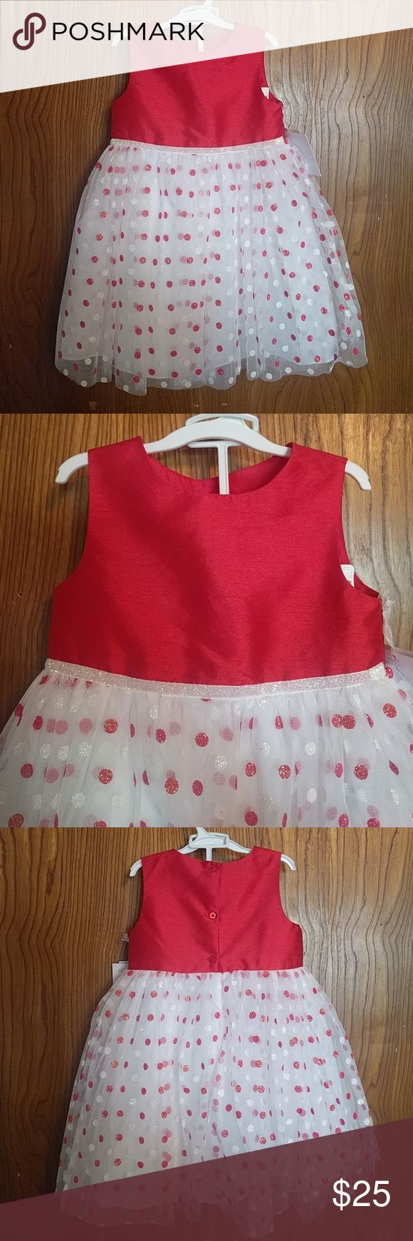 Marmellata special occasion dress Special occasion dress, maybe Christmas. Red taffeta top. Red and white polka dot crinoline skirt with sparkly piping on waist. Buttons on back. Skirt has 4 layers, 2 crinoline, (one with dots, other plain) , then liner, then liner with bunched up crinoline to make the dress pouf. Comes with white bloomers. Super cute. Marmellata Dresses Formal