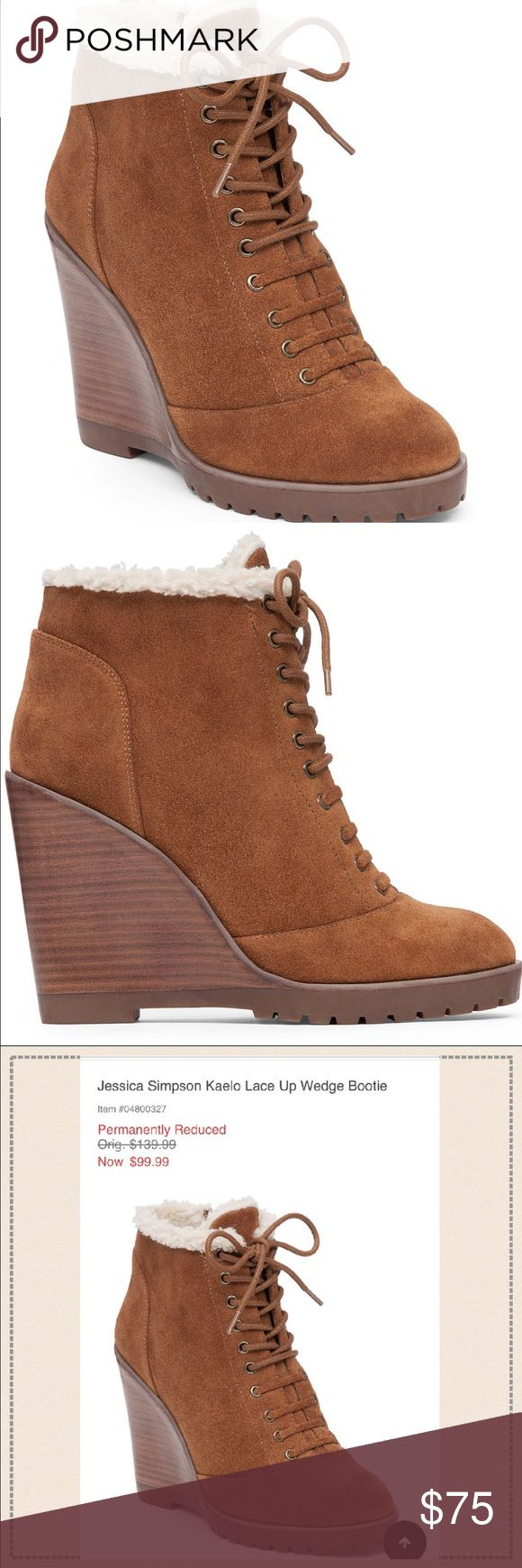 "Brand New! Presently at Dillard's for $99-JS Boots Super cute! Soft interior! Jessica Simpson Wedges! Never worn! Suede Leather Canela brown color. Just purchased less than a month ago...no use for them. 4.2"" Heel height. Jessica Simpson Shoes Ankle Boots & Booties"
