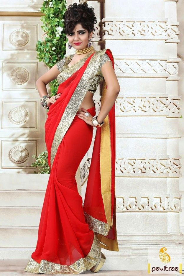 Contrast colors with delicate design and prominently red color pure georgette saree with brocade blouse piece. Buy online this stylish lace patti work casual saree with cheap price. #saree, #casualsaree more: http://www.pavitraa.in/store/casual-saree/