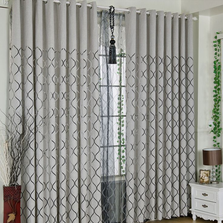 Grey Chenille Fabric Black Lines Pattern Cool Curtains