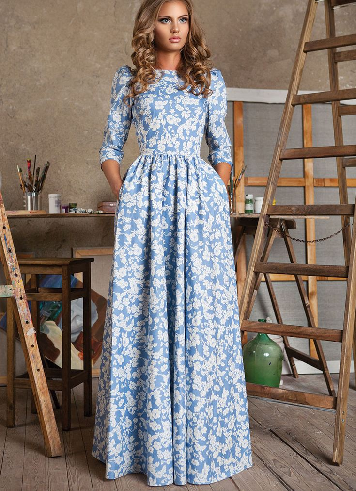 HIGH QUALITY New 2015 Russian Fashion S/S Runway Maxi Dress Women's 3/4 Sleeve Blue Floral Digital Printed Casual Long Dress
