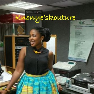 @Super_Chika rocking @knonyekoutre 's patched gathered skirt design. She sure looks great. Thanks DIVA. *muah*
