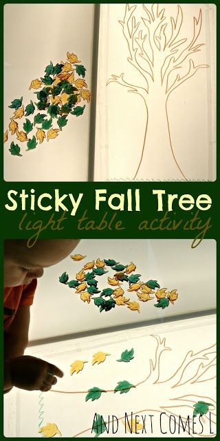 Sticky fall tree light table activity for kids from and next comes l