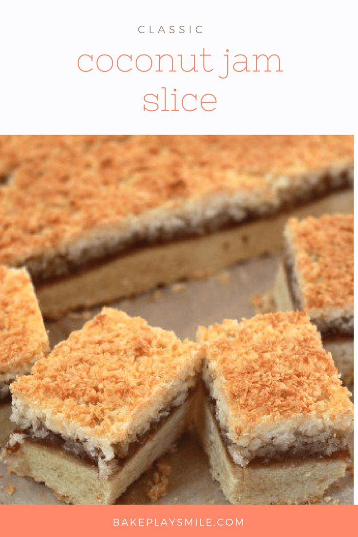 Coconut Jam Slice is such a classic recipe! The delicious triple layers include a shortbread-like base, fruity jam centre and crispy coconut topping. #classic #coconut #jam #slice #baking #easy #best #conventional #thermomix