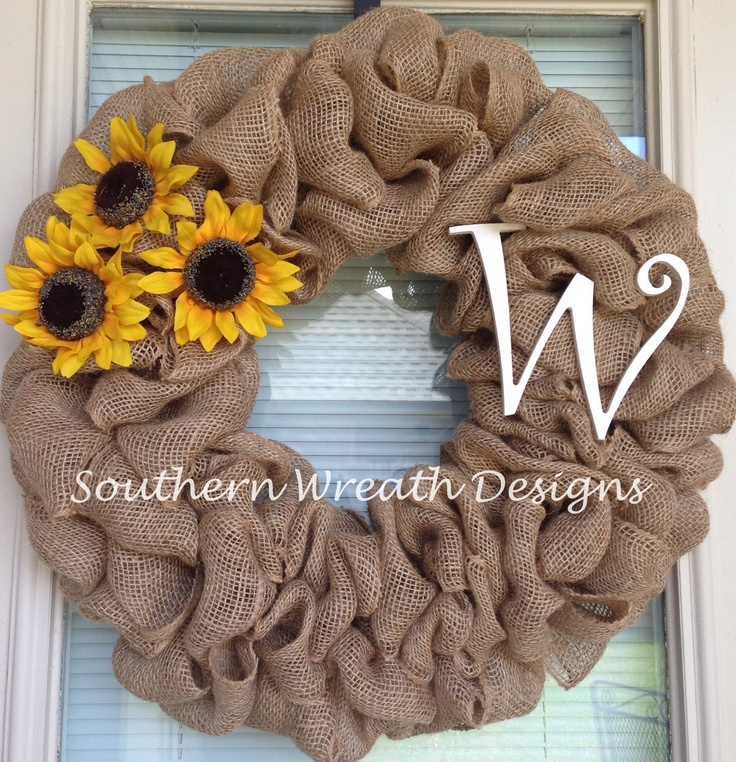 24 Sunflower burlap initial wreath by SouthernWreathDesign on Etsy, $55.00