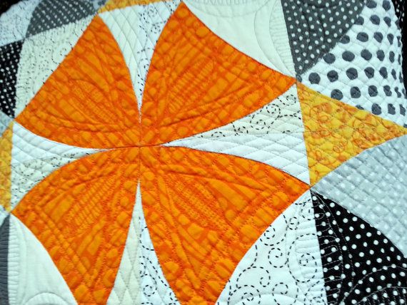 Modern quilted pillow decorative pillow by MagdalenasQuiltShop