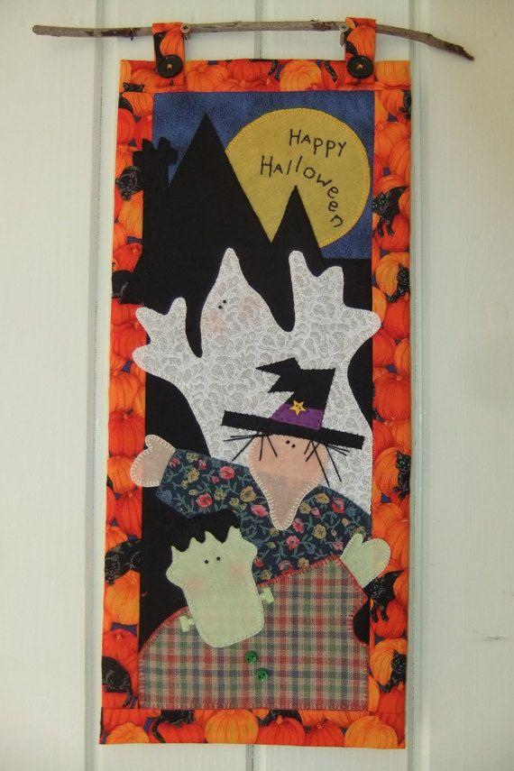Happy Halloween Wall hanging handmade applique