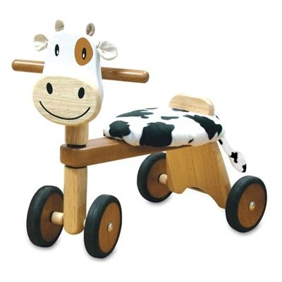 Calffy is a sturdy wooden ride-on trike for young children from I'M Toy and has wide rear wheels with rubber grips for stability and to protect your floors. The trike comes with a removable cushioned seat, making washing easy.