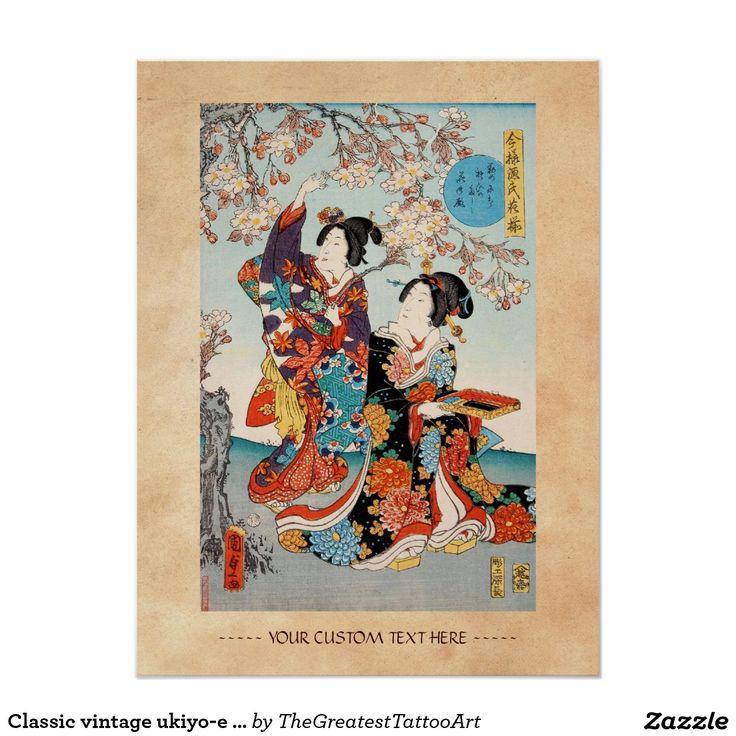Classic vintage ukiyo-e two geishas Utagawa art Poster