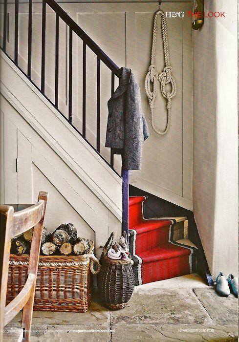 baskets, logs, red stair runner