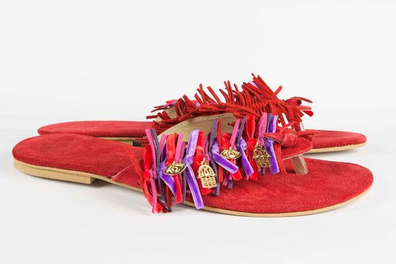 Jeweled leather sandal Frangia  Red / Purple by Gesinee on Etsy, €79.00