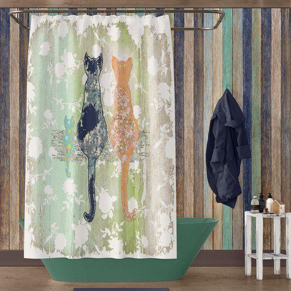 Rustic Bathroom Cat Shower Curtain Shabby Chic Bathroom Decor
