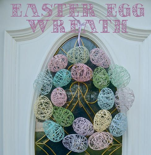 Cute, simple, easy Easter Egg Wreath made from embroidery thread and starch to make egg shapes!
