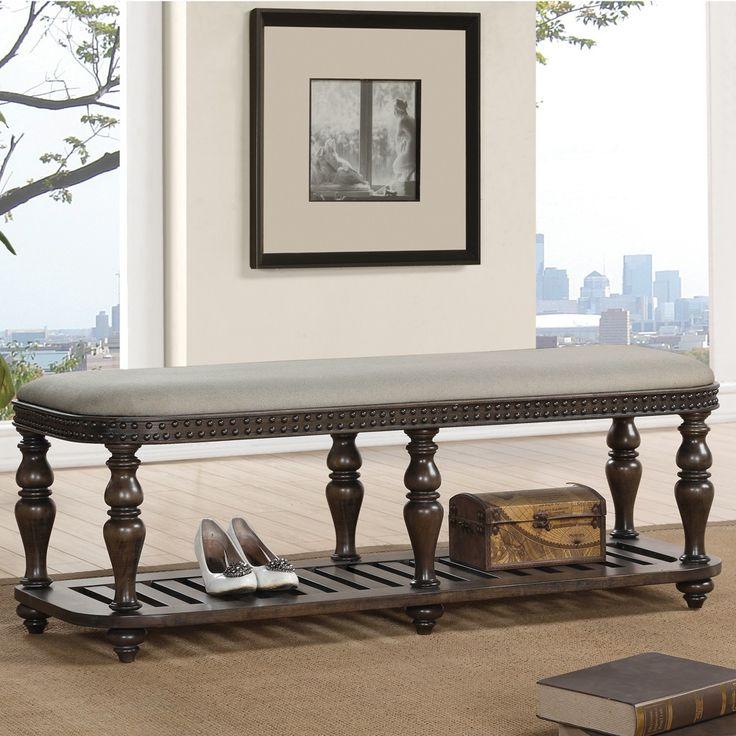 Riverside Furnitureu0027s Belmeade Wood Upholstered Accent Bench