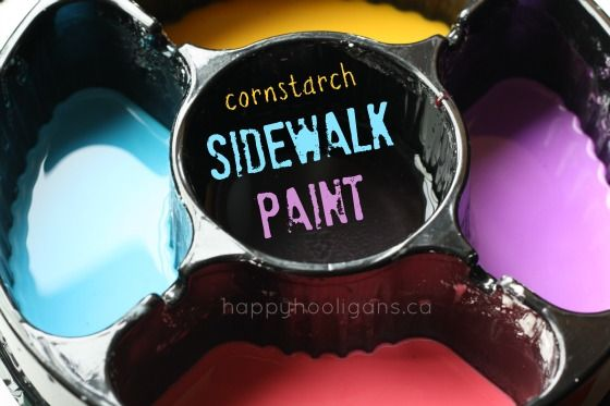 sidewalk paint - happy hooligans - outdoor art with cornstarch paint
