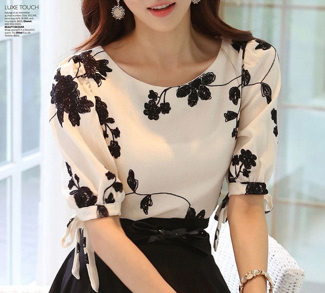 New Summer Lady White Chiffon Blouse Plus Size S-3XL O-Neck Half Sleeve Style Korean Women Fashion Shirts