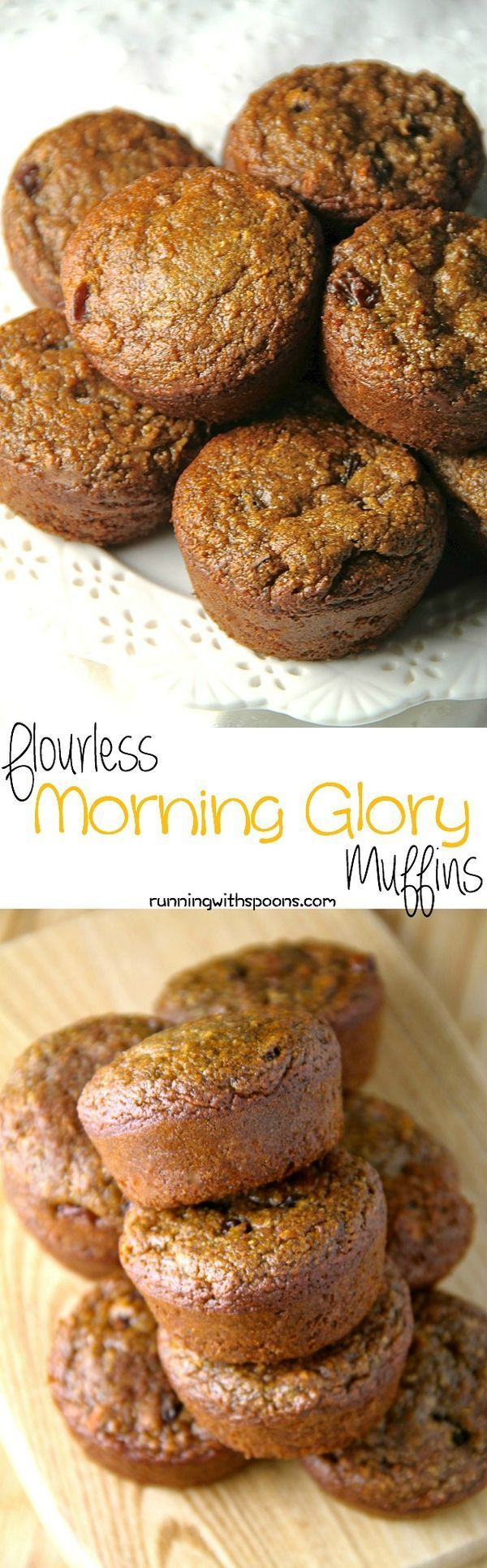 These delicious Flourless Morning Glory Muffins are gluten-free, refined sugar-free, dairy-free, oil-free and whipped up in the blender in under 5 minutes flat! || runningwithspoons.com #glutenfree #muffins