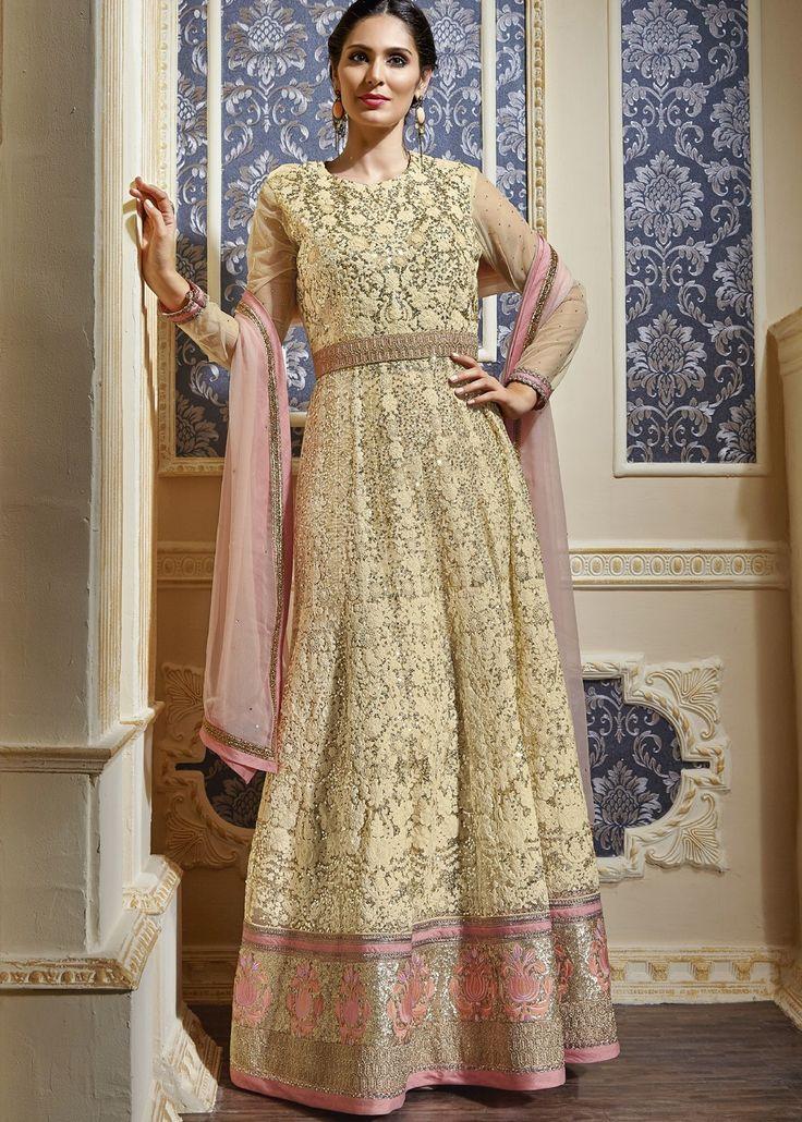 Bruna Abdullah Embroidered Net Anarkali Suit In Cream