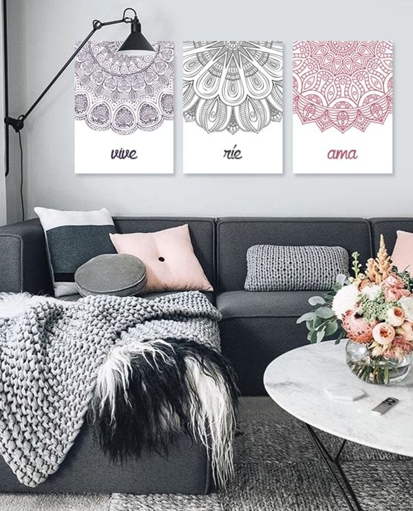 393 best salones images on pinterest for Decoracion con cuadros