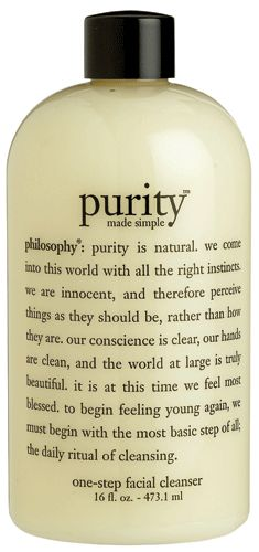 Philosophy Purity Made Simple Cleanser. I started this cleanser over 4 years ago and I still LOVE it more than any other I have ever used. Clearest skin I've ever had.
