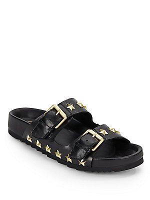 Ash United Star-Studded Leather Slide Sandals - Black - Size 41 (11)