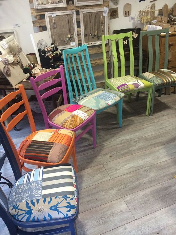 These colourful chairs have been given a new lease of life and will look amazing around your dining table, in a kitchen or as bedroom chairs. They have been hand painted in several complimentary, funky colours and then sanded and waxed by hand to create a worn, shabby chic look. Finally we reupholster the seat with bright and bold fabrics to create a striking patchwork cover. We can also paint these chairs in colours of your choosing and contrast or clash the patchwork covers – go as crazy…