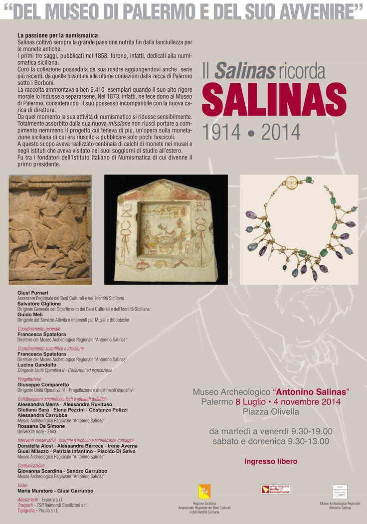 """Recto pieghevole #mostra """"Del #Museo di #Palermo e del suo avvenire"""" - Il Salinas ricorda SALINAS 1914-2014 #museosalinas"""