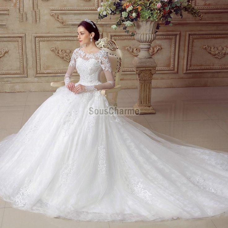 robe mariée rétro de luxe originale manches longues transparente en  dentelle ajourée