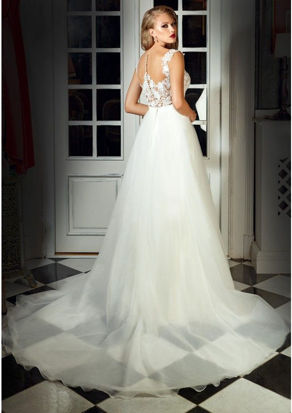 Princess Wedding Dress Style Deep V Cleavage And Cups Included Low Cut Back The Skirt