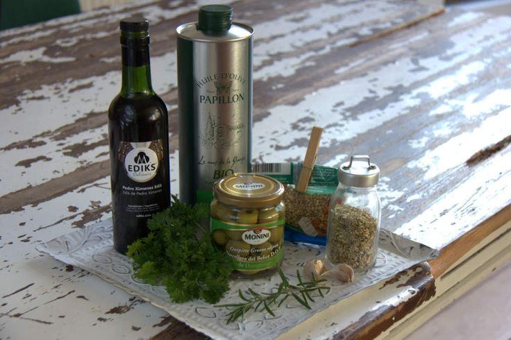 Ingrediënten gemarineerde olijven