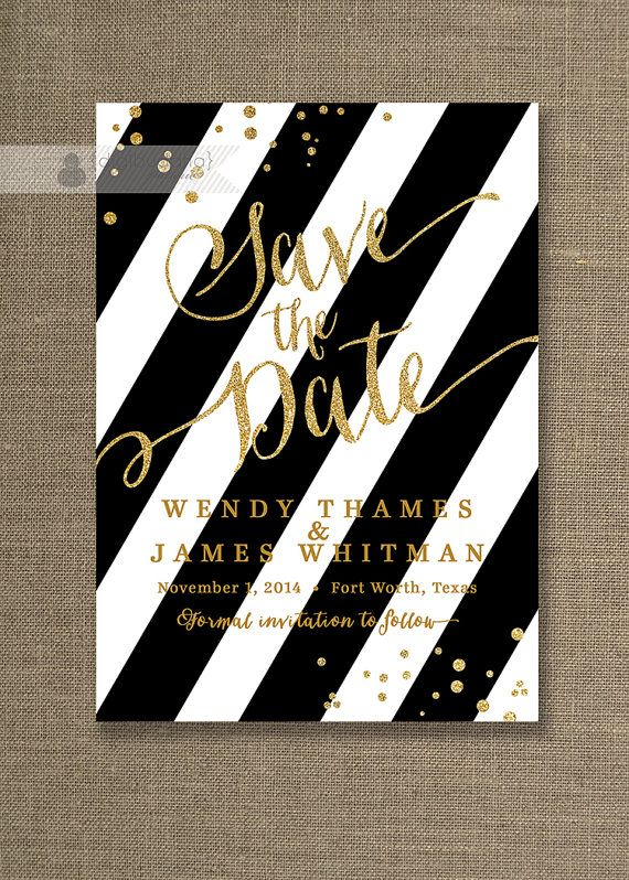 Gold Glitter Save the Date Invitation Black & White Stripe with gold glitter look confetti and gold script by digibuddhaPaperie, $20.00