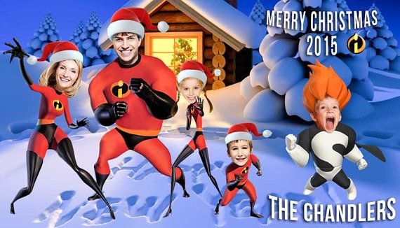 Funny Family Christmas card Incredibles by PartyPhotoInvites