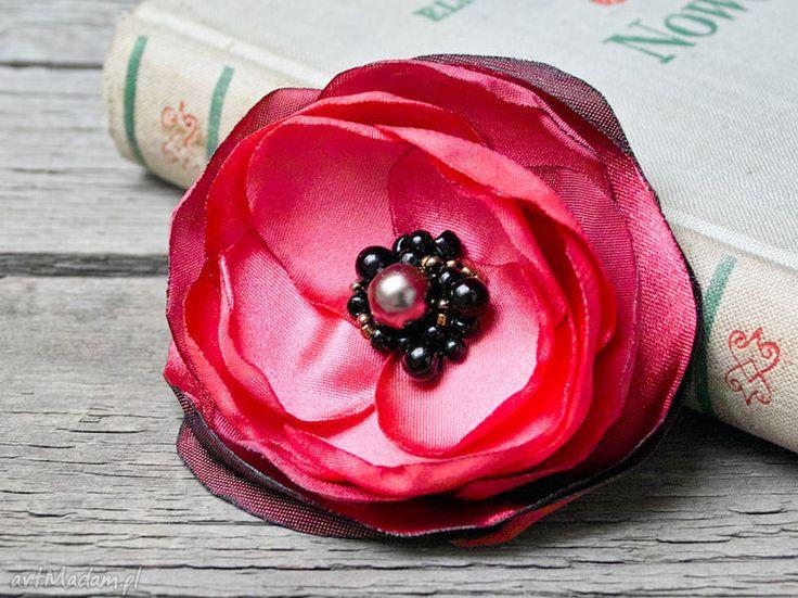 Czerwona broszka przypinka kwiatek prezent dla niej broszki