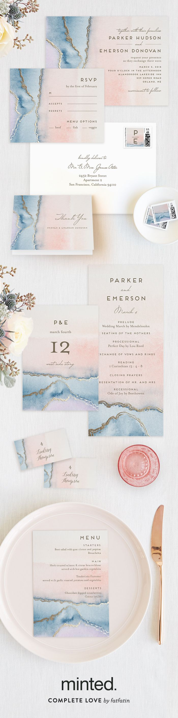 Introducing the Minted 2016 Foil-Pressed Wedding Collection. Shop unique designs for your wedding invitations in unique styles from our community of artists. Simple Agate, geode crystal inspired wedding invitation, by Minted artist Petra Kern.
