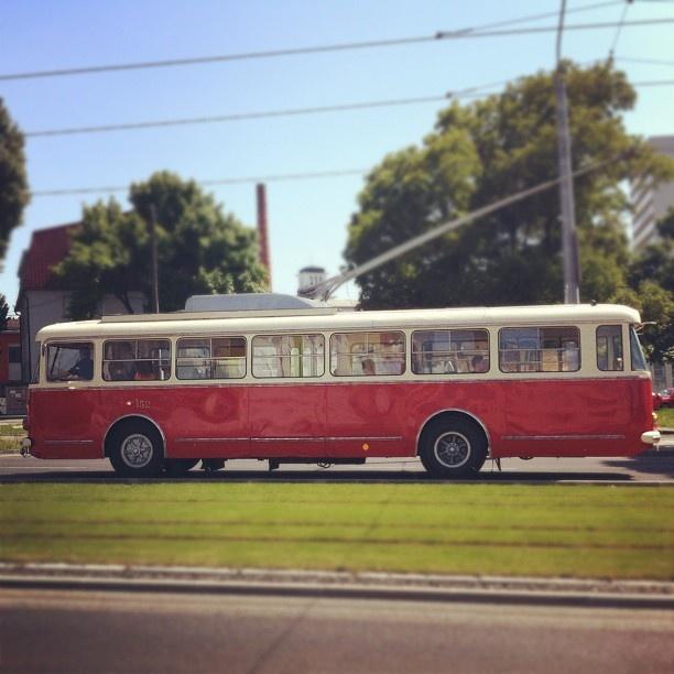 """Beauty on the street #trolleybus #bratislava #antique"""