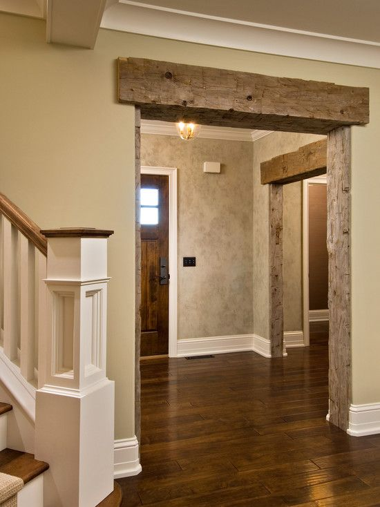 Barnwood Design. Love the idea of lining the doorways with barnwood. Again for down in the basement from the french doors to the would stove?