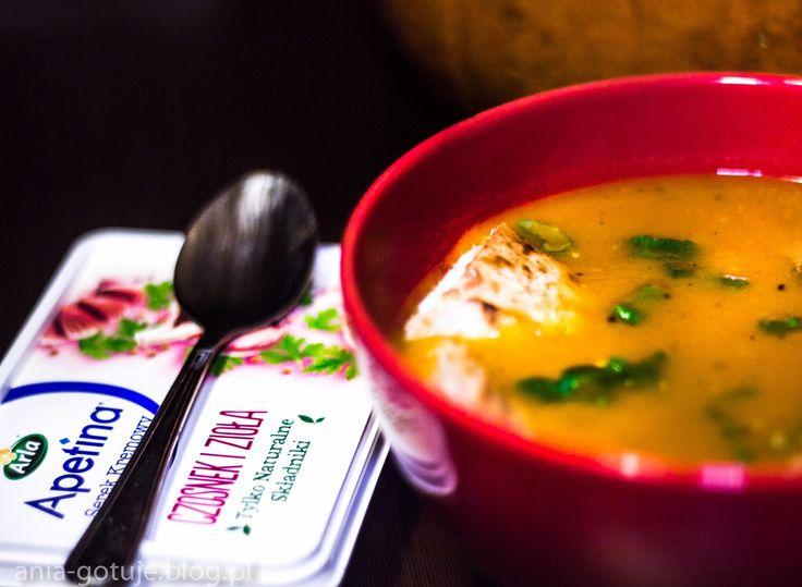 Zupa z Dyni z Naleśnikami Razowymi i Serkiem Arla z Czosnkiem