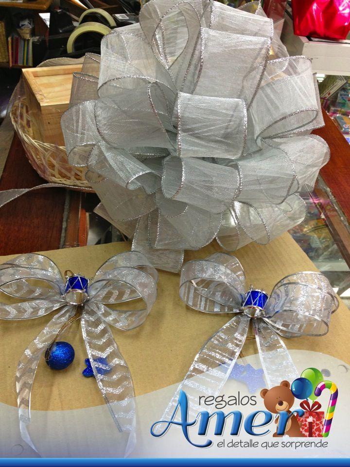 Decoraci n para rbol navidad plata y azul www - Lazos de navidad para el arbol ...