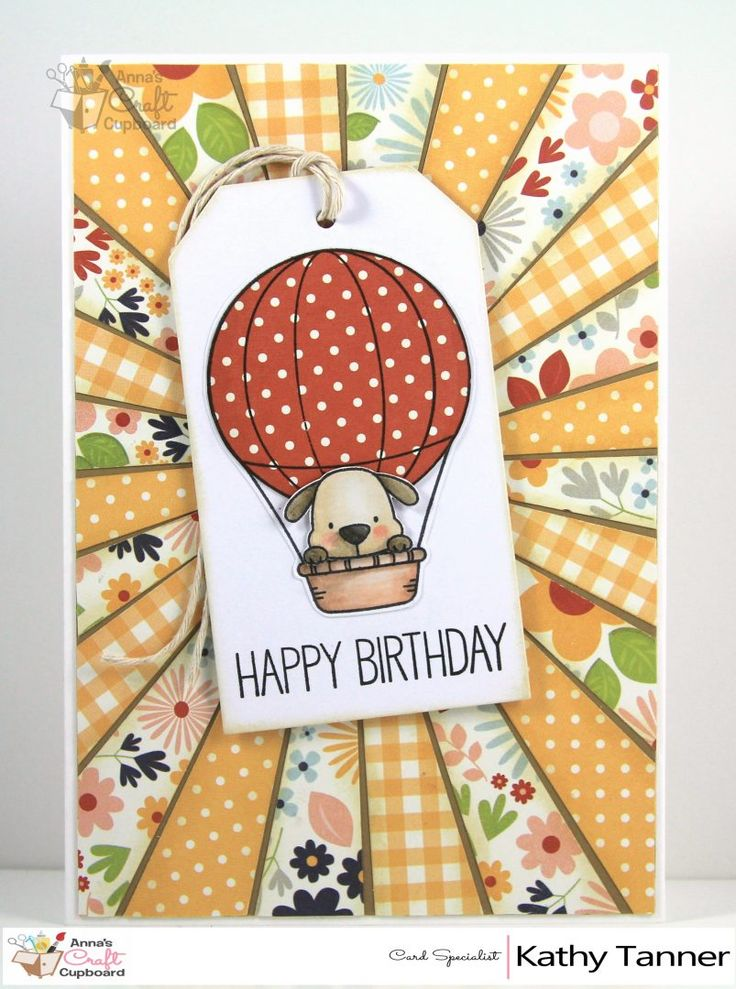 HAPPY BIRTHDAY BALLOON (MFT) Are you ready for another gorgeous MFT creation by Kathy Tanner?! This card incorporates the Up in the Air stamp and sunburst style again - yet has a completely different look and feel to it. You can see the details over on Anna's blog…