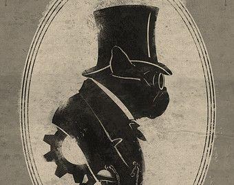 Winston la bouledogue Français Art Gentleman victorien Steampunk Original Silhouette Illustration peinte Bar Portrait Print-4 tailles disponibles