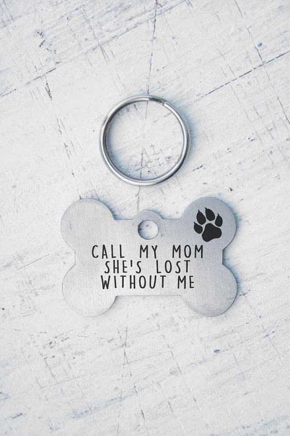 Bone Dog Tag - Stainless steel - Customized Pet ID Tag - Name Tags - Personalized Pet ID Tags - keep calm, call my mom, i will lick you