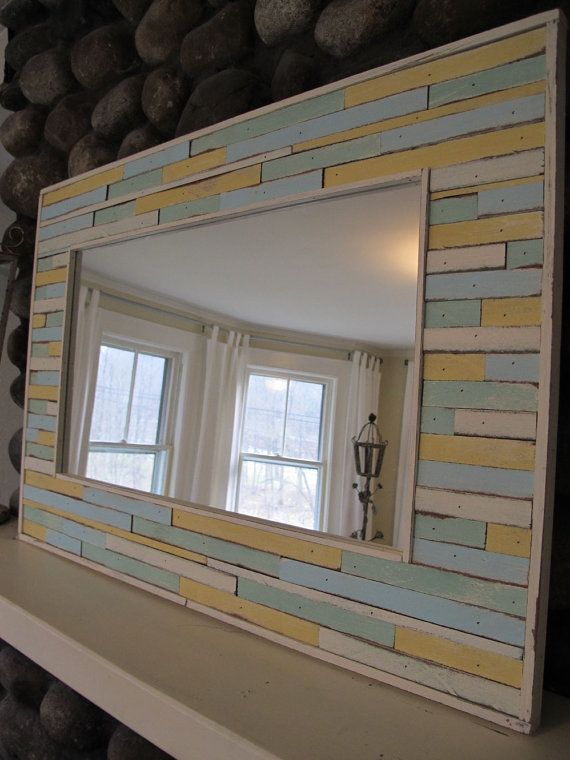 custom cottage mirror by RedGarage on Etsy, $275.00 **could make a similar mirror using Home Depot tiles on a big simple mirror