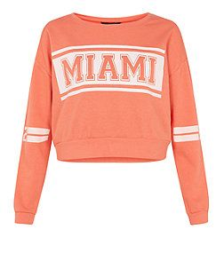 Pull ado corail à imprimé Miami dans un rectangle | New Look
