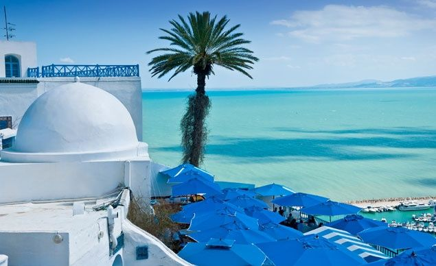 The deep blue of the Bay of Tunis makes the perfect backdrop for the white buildings in Sidi Bou Said, Tunisia