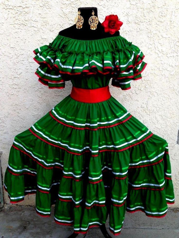 Mexican dress fiesta5 de mayowedding tricolorgrn